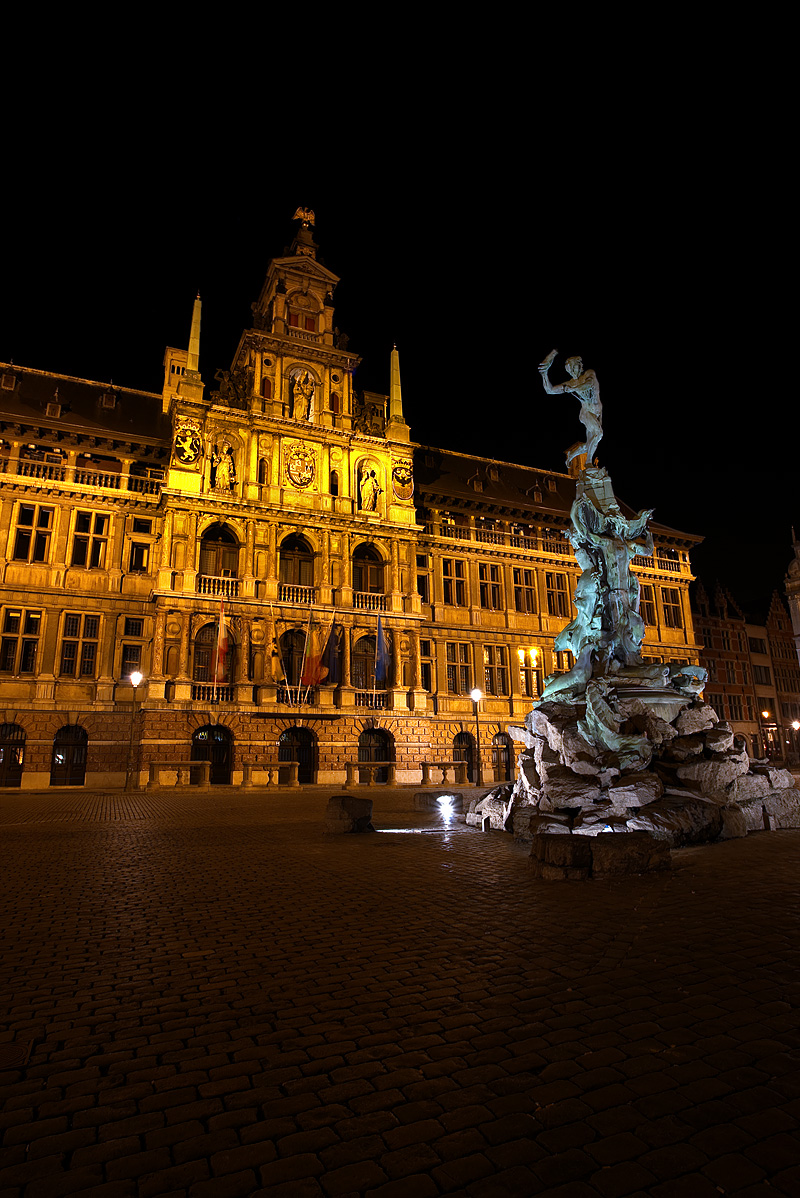 City Hall and its famous hand throwing fountain located at Grote Markt. - Antwerp, Belgium - Daily Travel Photos
