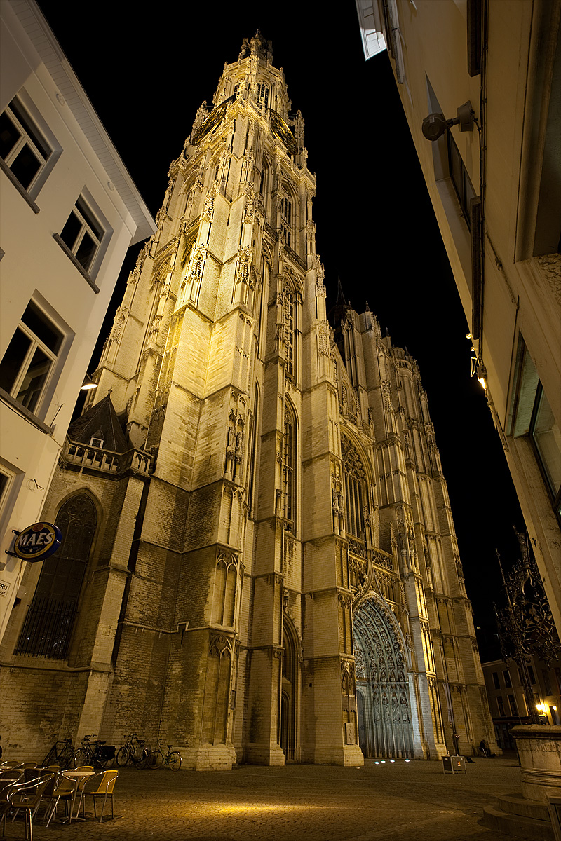 The Cathedral of Our Lady framed by local buildings. - Antwerp, Belgium - Daily Travel Photos