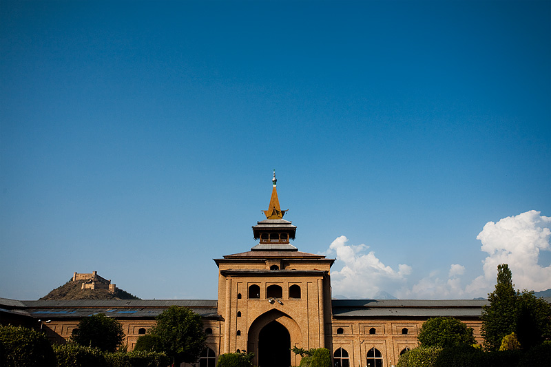 The view, including Srinagar Fort, from the inner courtyard at Jamia Masjid. - Srinagar, Kashmir, India - Daily Travel Photos