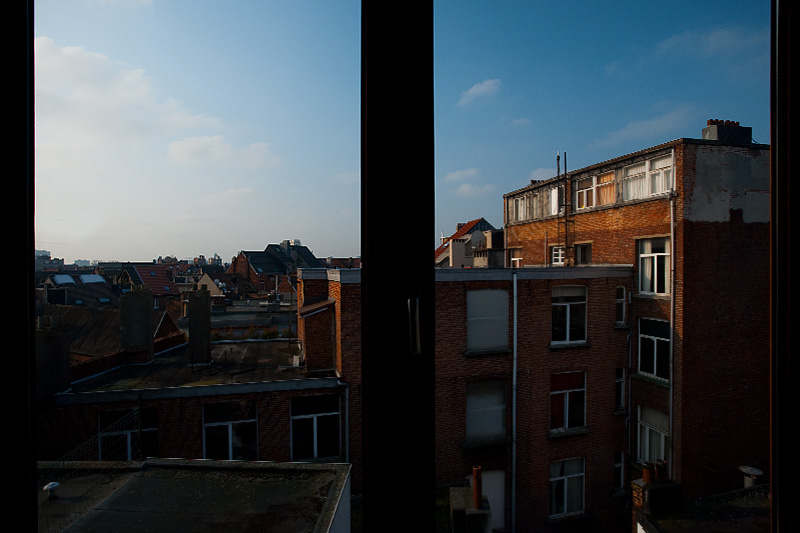 A windowed view of Antwerp's rooftops. - Antwerp, Belgium - Daily Travel Photos