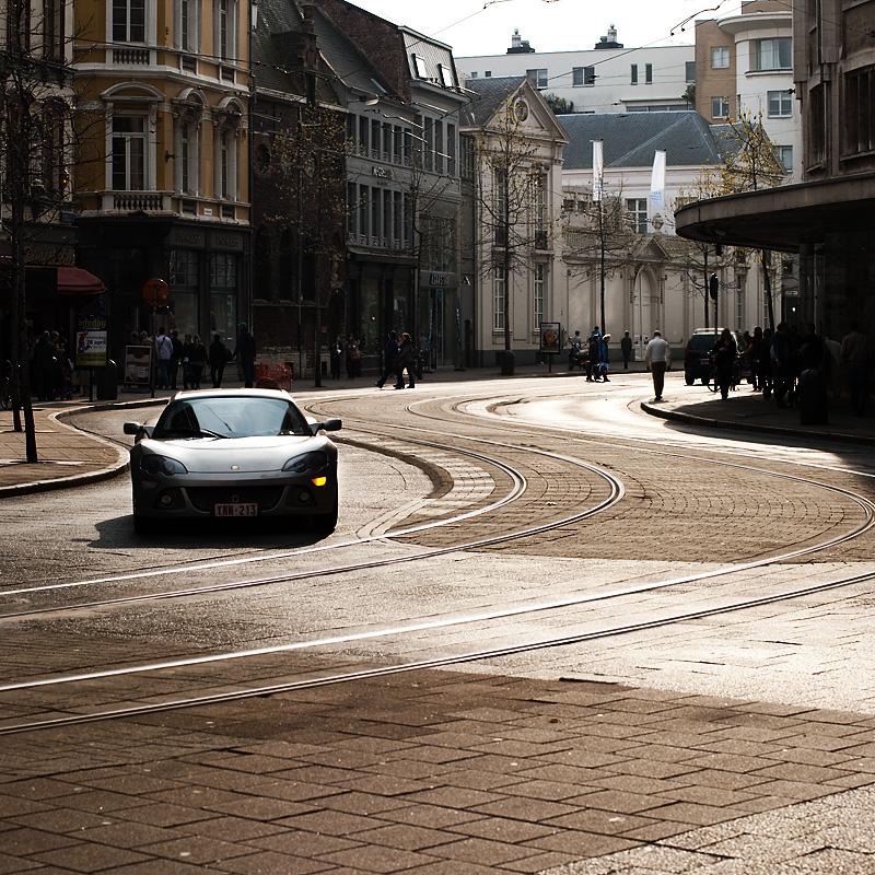 A Lotus Elise waits to execute a turn. - Antwerp, Belgium - Daily Travel Photos