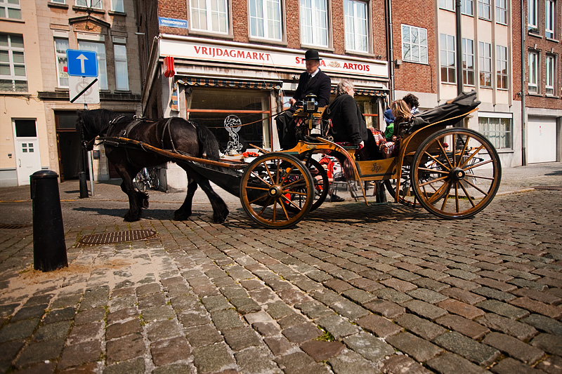 A horse and buggy makes a sharp right turn at Vrijdagmarkt square. - Antwerp, Belgium - Daily Travel Photos