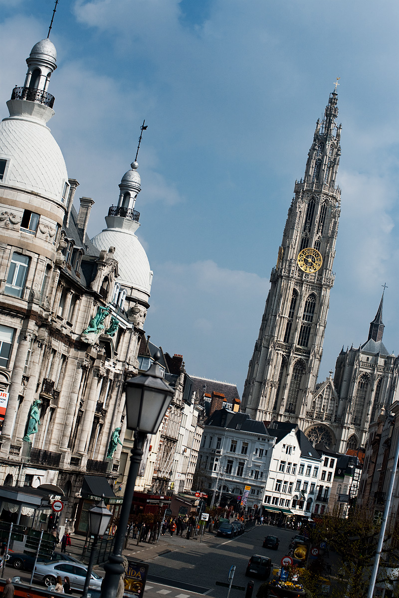 A tilted view of the Cathedral of Our Lady from the Scheldt River. - Antwerp, Belgium - Daily Travel Photos