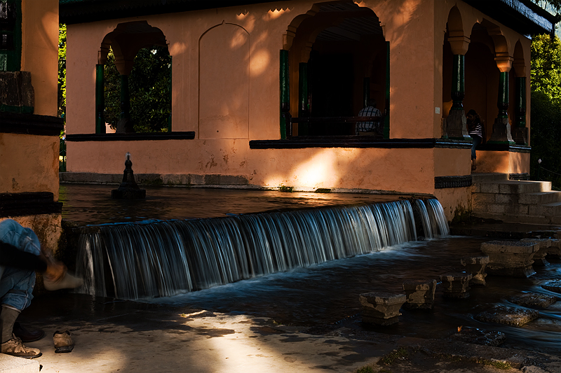 One of many small cascades stretching through the entire fountain at Shalimar Bagh. - Srinagar, Kashmir, India - Daily Travel Photos