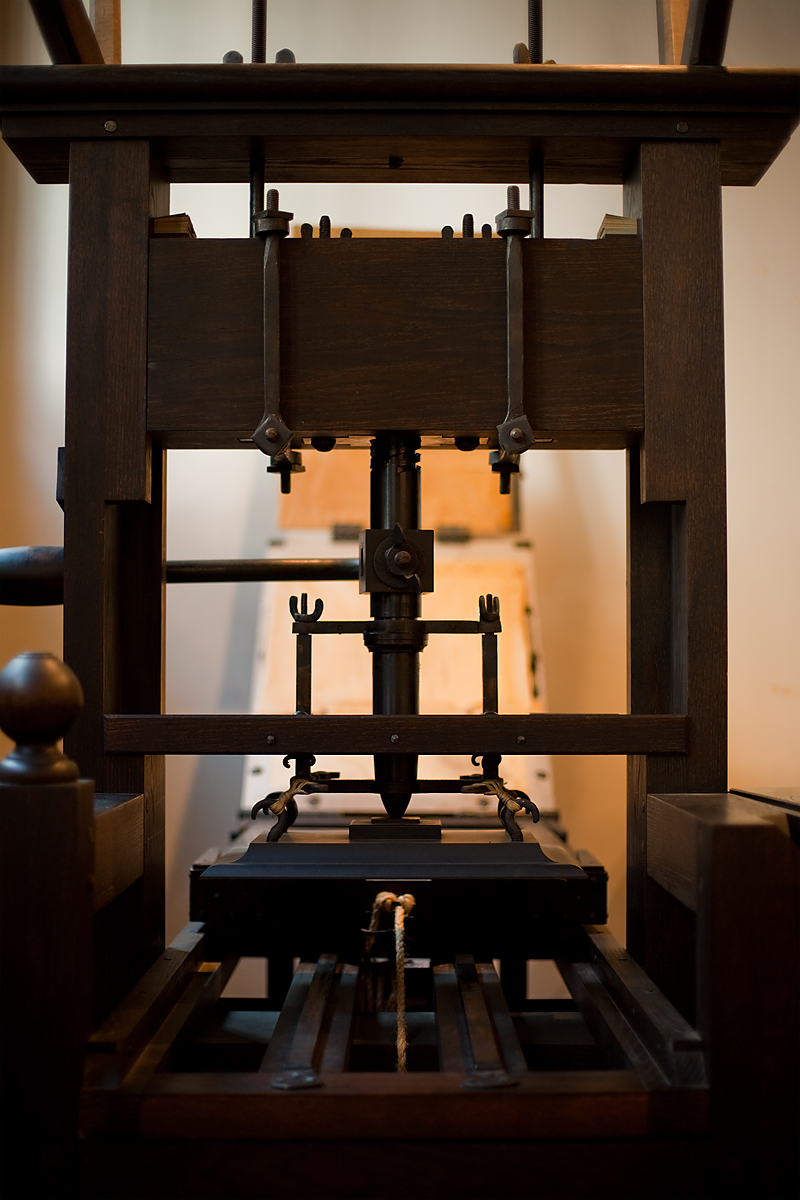 A traditional printing press at the Plantin-Moretus Museum. - Antwerp, Belgium - Daily Travel Photos