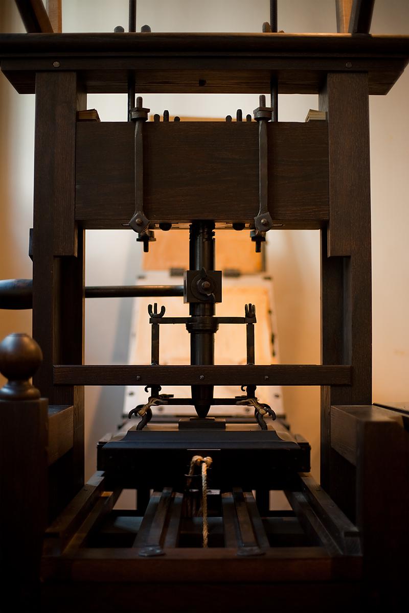 A traditional printing press at the Plantin-Moretus Museum. - Antwerp, Belgium - Daily Travel Photos