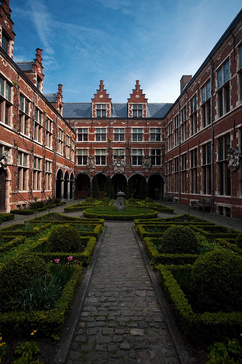 The inner courtyard of the Plantin-Moretus museum.  - Antwerp, Belgium - Daily Travel Photos