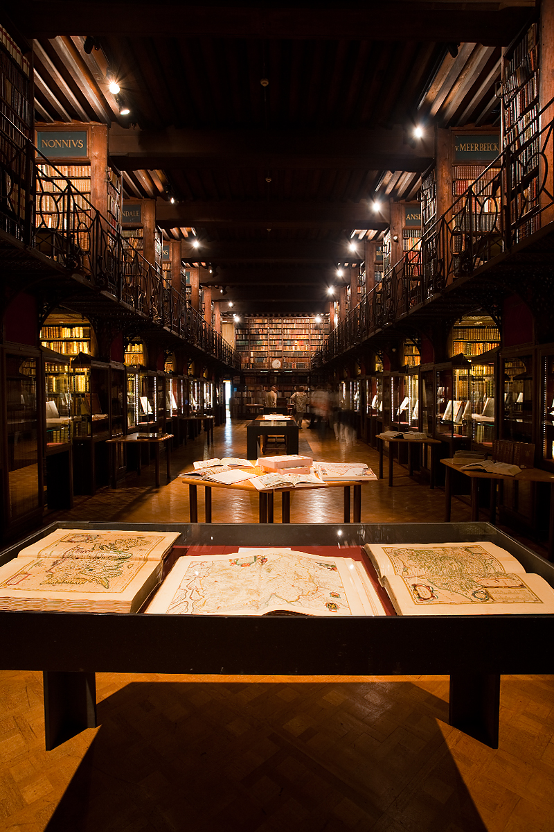 Maps at far end of the Nottebohmzaal room at the Hendrik Conscience Library. - Antwerp, Belgium - Daily Travel Photos