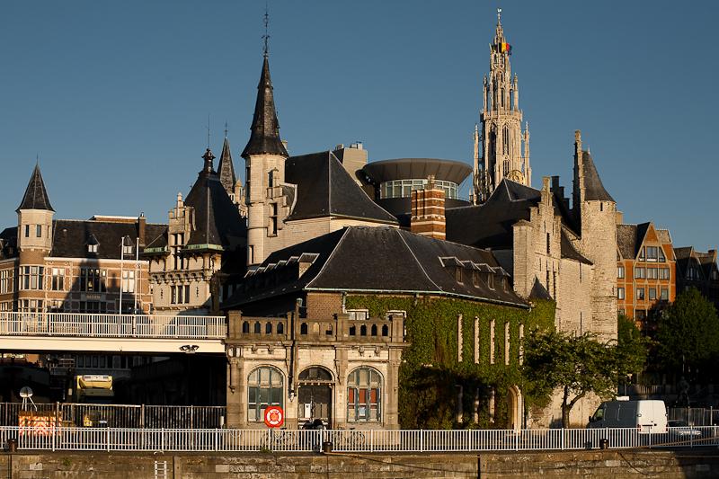 A jumble of tourist attractions including Het Steen and Onze Lieve Vrouwekathedraal. - Antwerp, Belgium - Daily Travel Photos