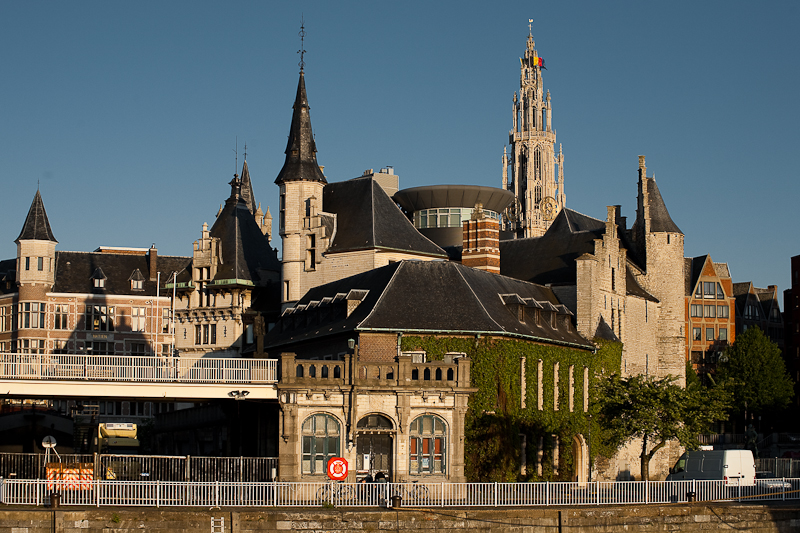 A jumble of tourist attractions including Het Steen and Onze Lieve Vrouwekathedraal. - Antwerp, Belgium - Daily Travel Photos
