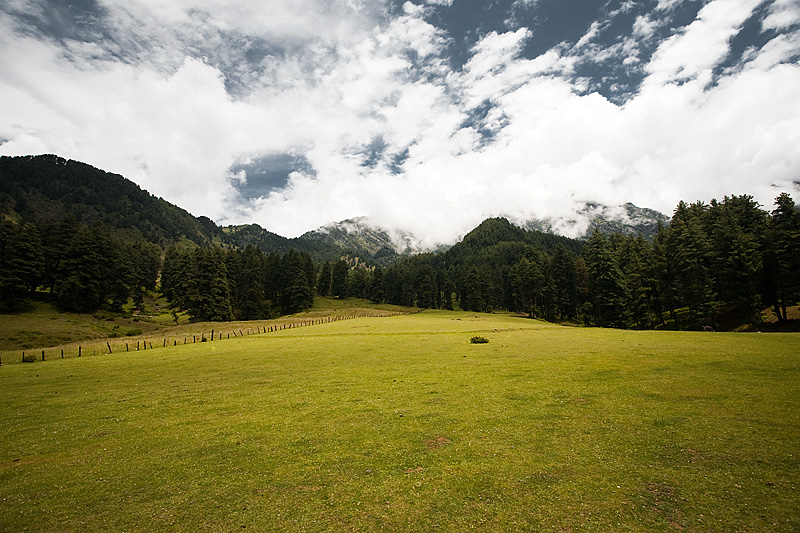 An open field looking up to the surrounding snow-capped mountains. - Aru Valley, Kashmir, India - Daily Travel Photos