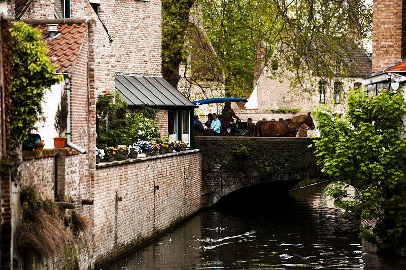 A horse and buggy carry tourists over a canal near the Begijnhof. - Brugge, Belgium - Daily Travel Photos