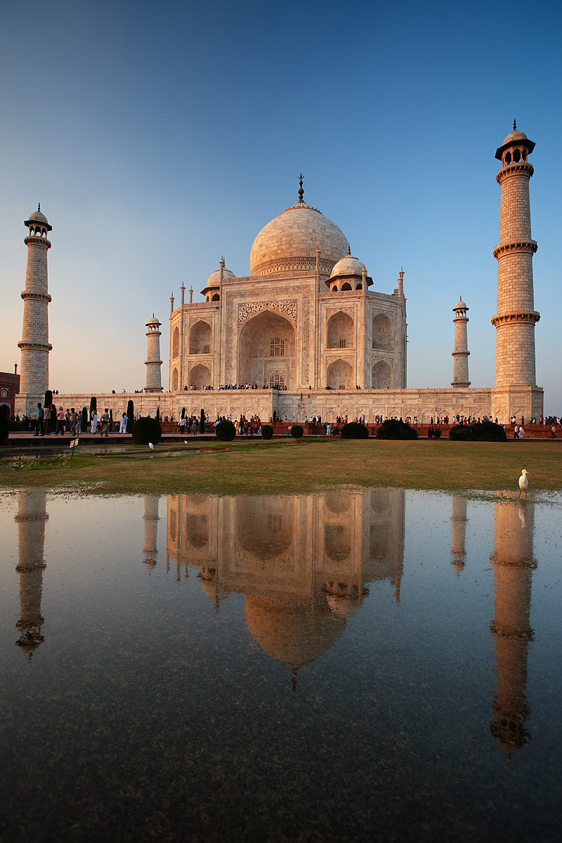 The Taj Mahal reflected in a pool of water at Sunset. - Agra, Uttar Pradesh, India - Daily Travel Photos
