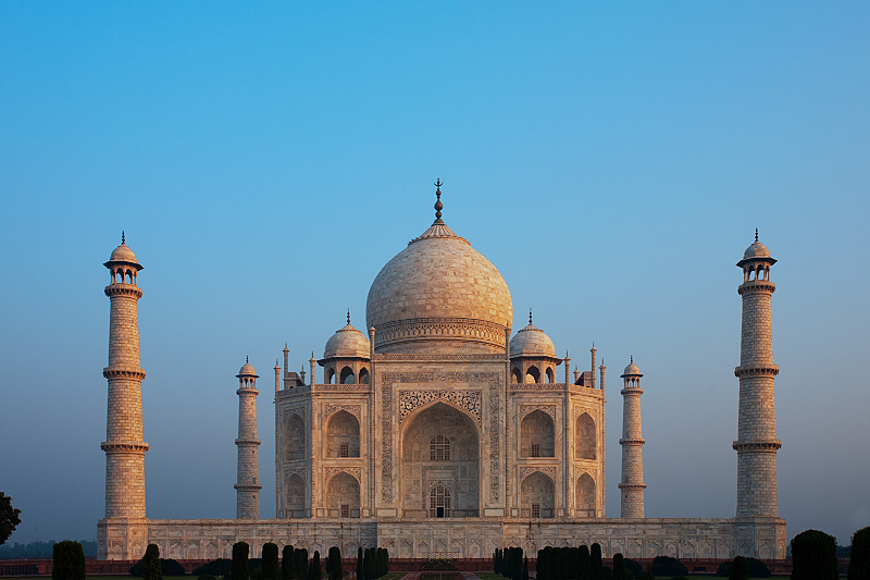 An empty Taj Mahal absorbs sunrise colors.  - Agra, Uttar Pradesh, India - Daily Travel Photos