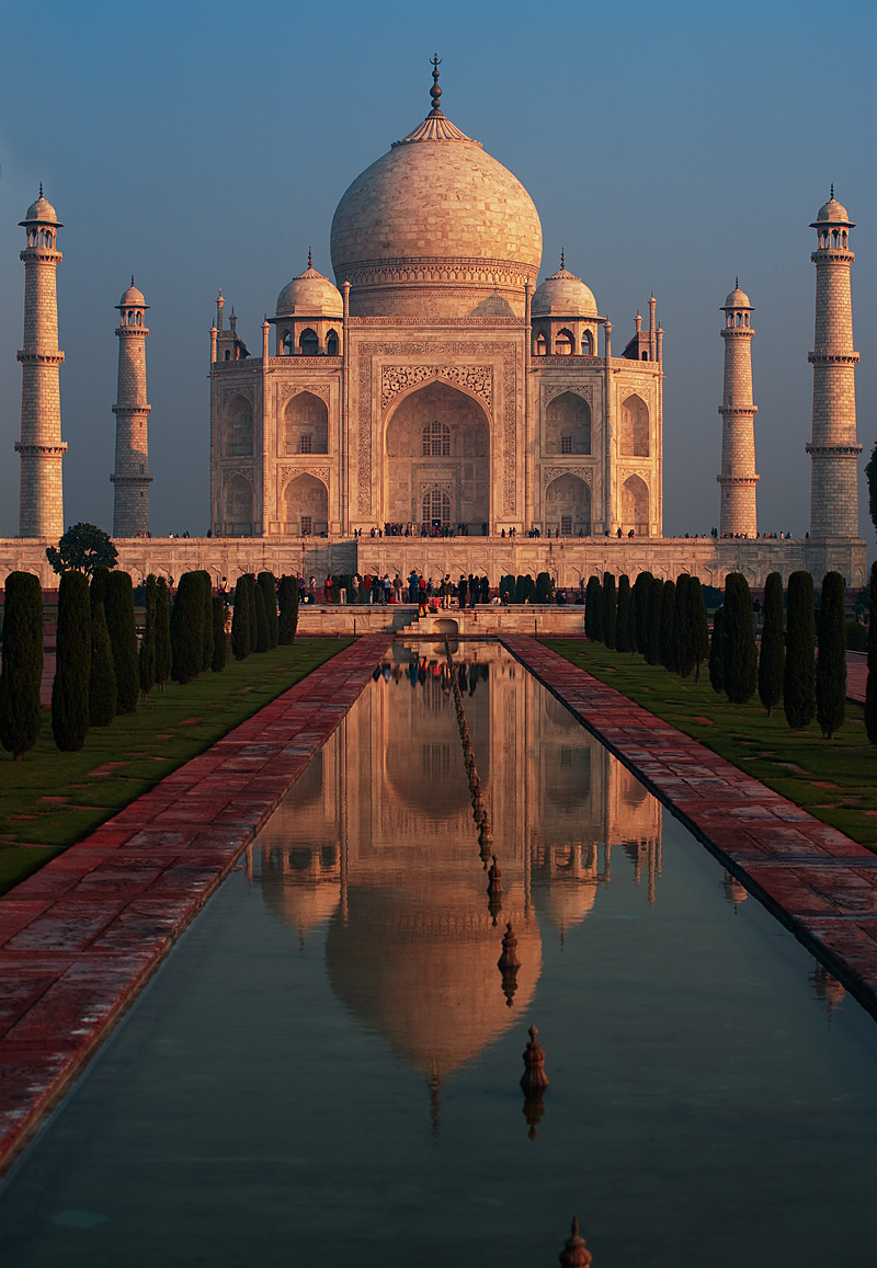 The Taj Mahal reflected in a fountain at sunrise. - Agra, Uttar Pradesh, India - Daily Travel Photos