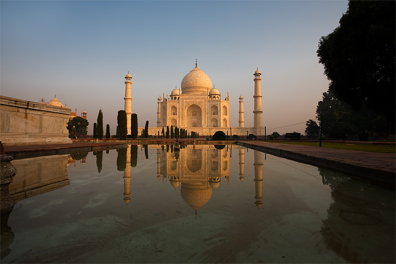 A unique angle of the Taj Mahal's reflection at sunrise.  - Agra, Uttar Pradesh, India - Daily Travel Photos