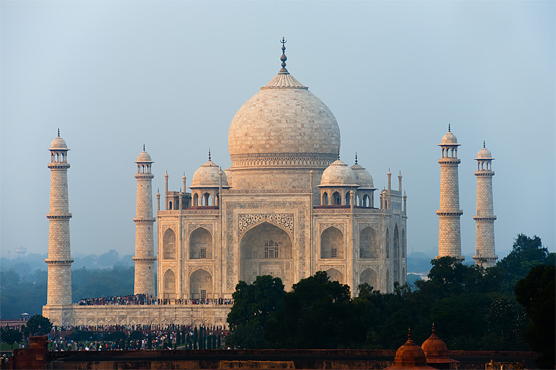 The Taj Mahal seen from a distance at sunset. - Agra, Uttar Pradesh, India - Daily Travel Photos