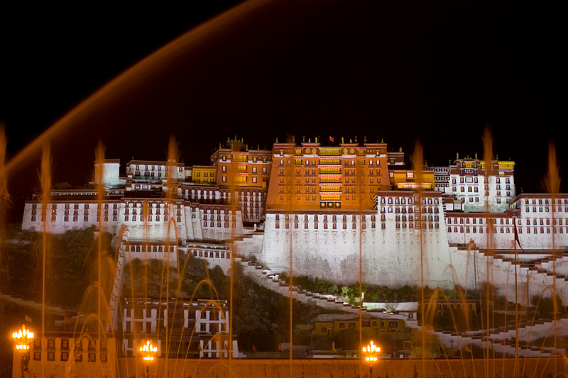 Nightly water fountain show in front of the Potala Palace. - Lhasa, Tibet - Daily Travel Photos