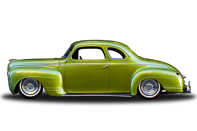 Plymouth Deluxe Coupe isolated on a white background. - San Francisco, California, USA - Daily Travel Photos