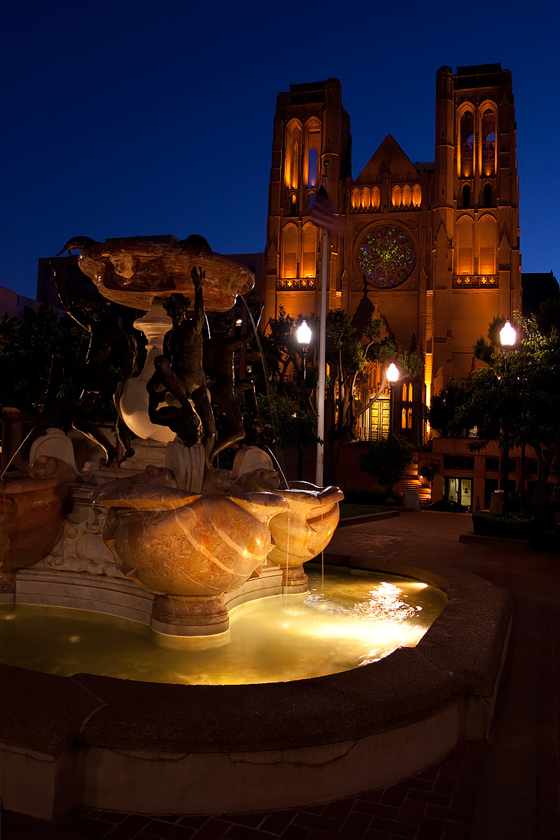 Grace Cathedral and water fountain on Nob Hill. - San Francisco, California, USA - Daily Travel Photos