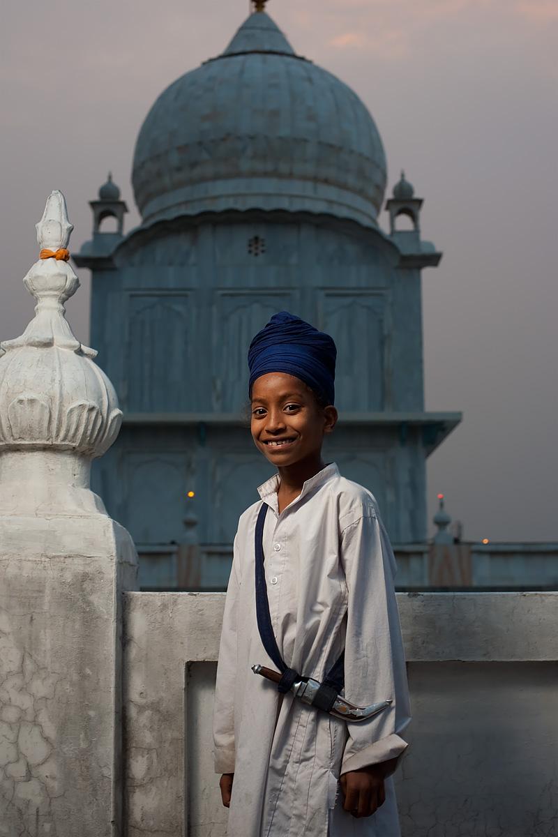 A cute young Sikh boy at the Paonta Sahib Gurudwara. - Paonta Sahib, Himachal Pradesh, India - Daily Travel Photos