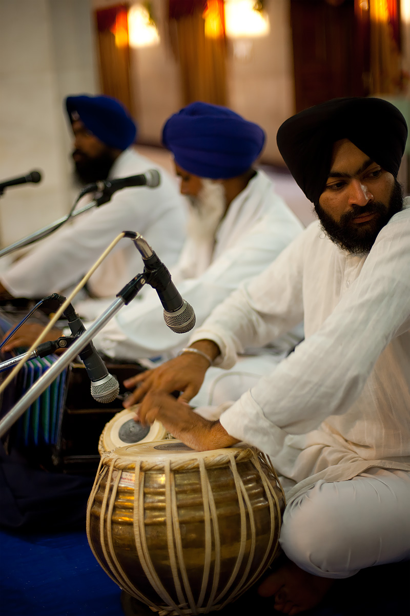 Sikh musicians play during gurudwara services. - Paonta Sahib, Himachal Pradesh, India - Daily Travel Photos