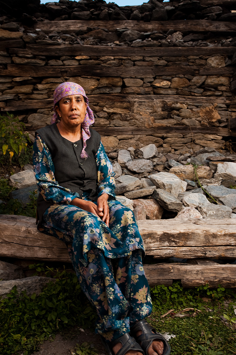Local woman in front of animal stable. - Sarahan, Himachal, India - Daily Travel Photos