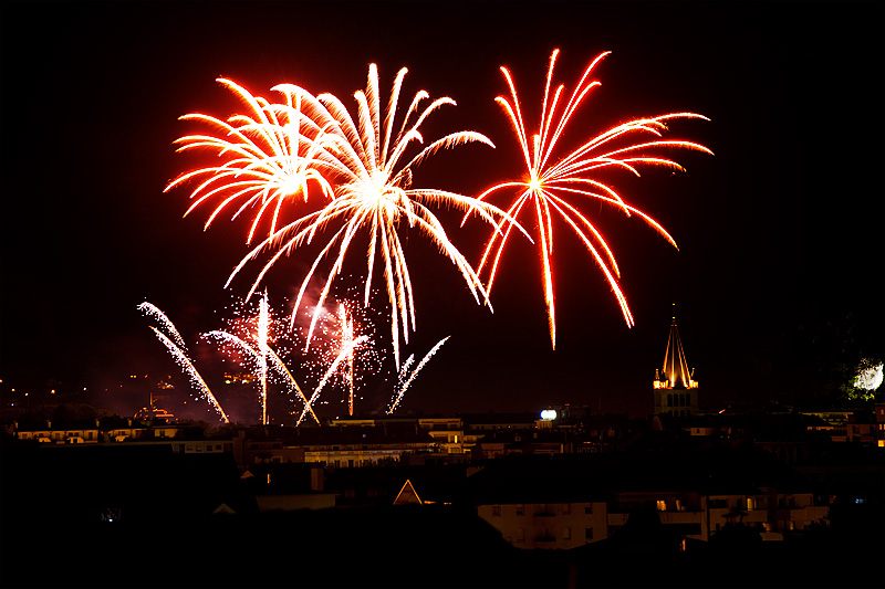 Bastille Day fireworks in a gorgeous lake village in the Alps. - Annecy, France - Daily Travel Photos