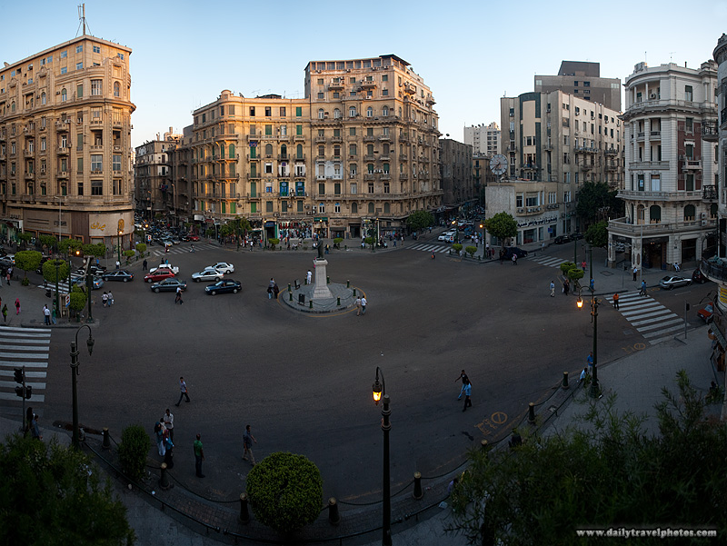 Midan Talaat Harb square traffic circle in the evening. - Cairo, Egypt - Daily Travel Photos