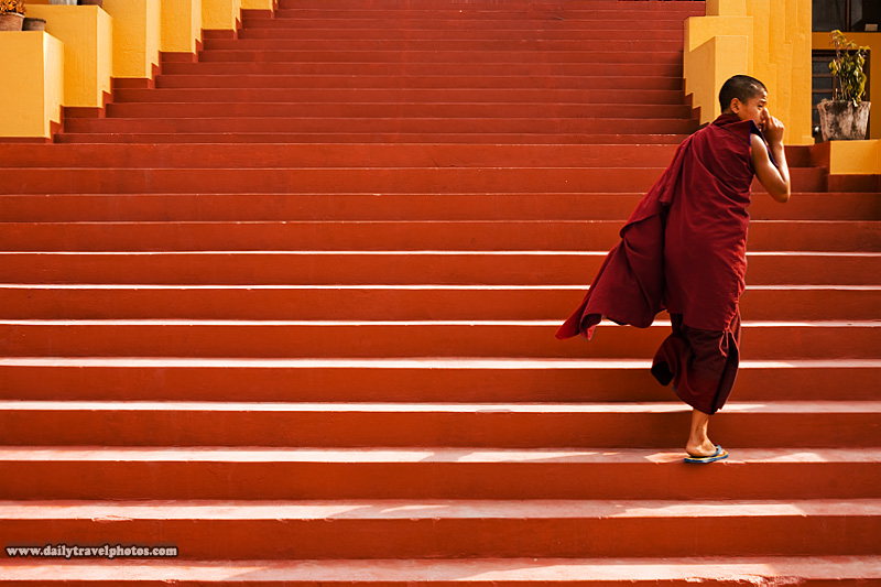 A monk is late to the 17th Karmapa, Ogyen Trinley Dorje's birthday ceremony - Dharamsala, Himachal Pradesh, India - Daily Travel Photos