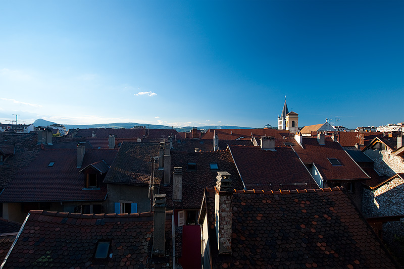 Shingled rooftops of historic downtown - Annecy, Haute-Savoie, France - Daily Travel Photos