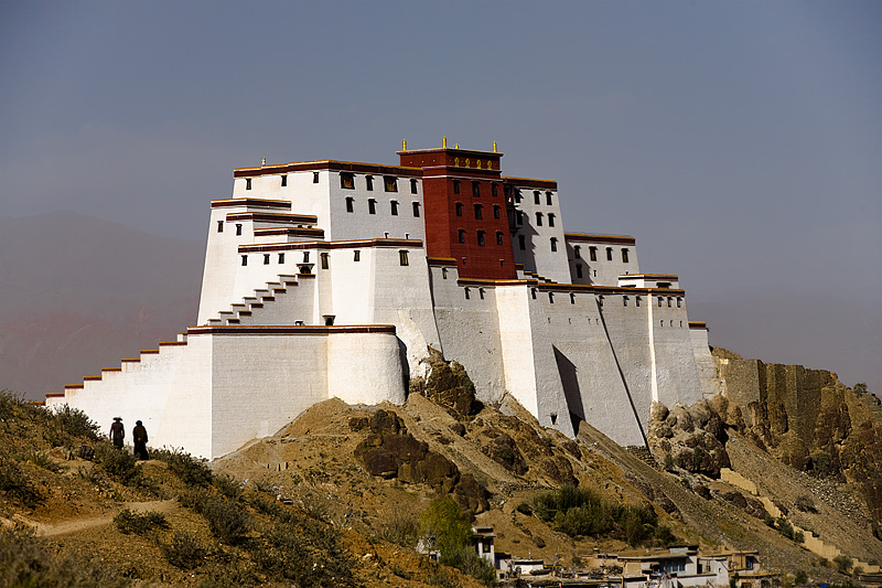 Tibetans walk around the Samdrubtse Dzong fortress - Shigatse, Tibet - Daily Travel Photos