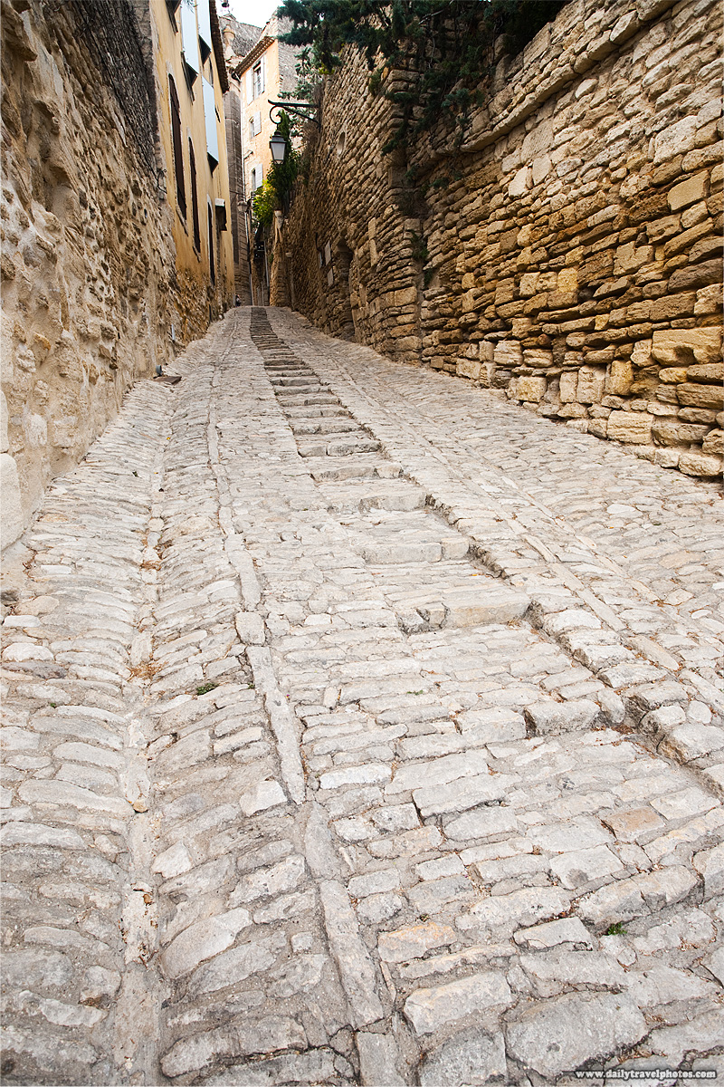 A path of stone steps leads into the village center - Gordes, Provence, France - Daily Travel Photos
