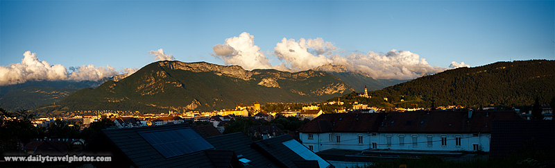 View onto downtown Annecy and alps mountains - Annecy, Haute-Savoie, France - Daily Travel Photos