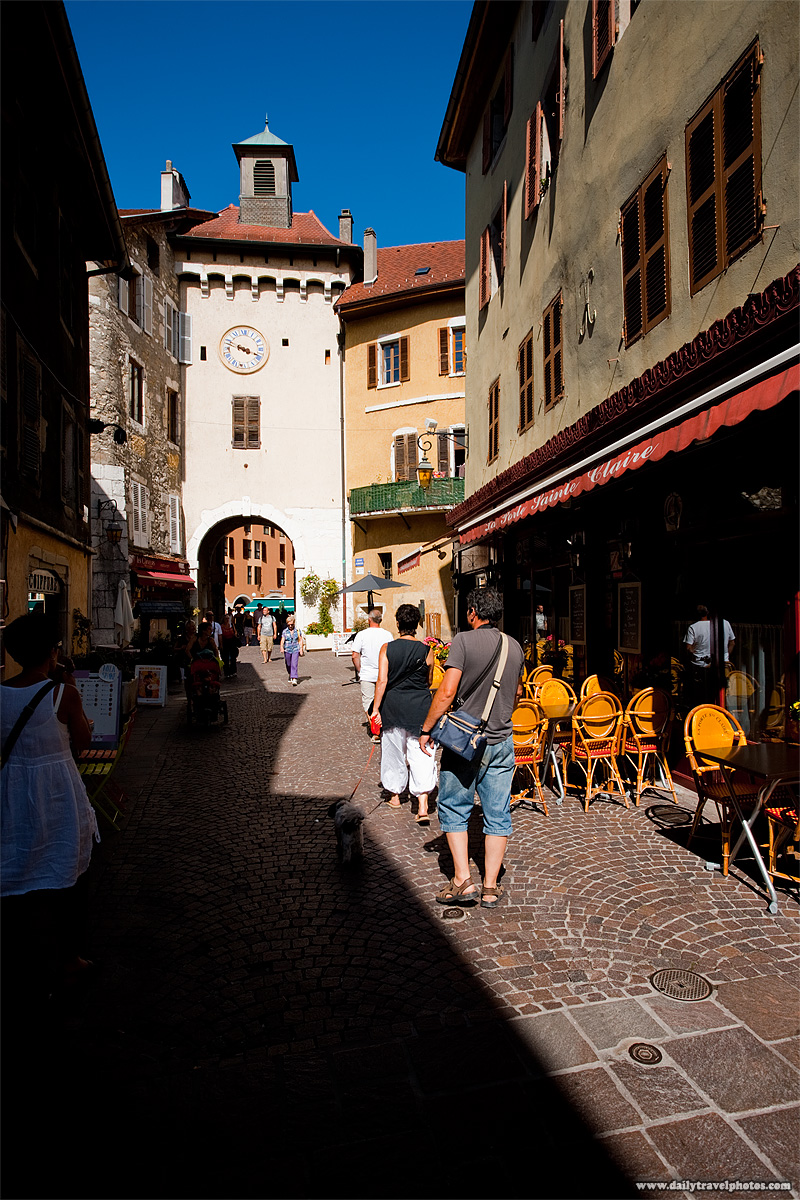 Sainte-Claire gate clock building in historic old town - Annecy, Haute-Savoie, France - Daily Travel Photos