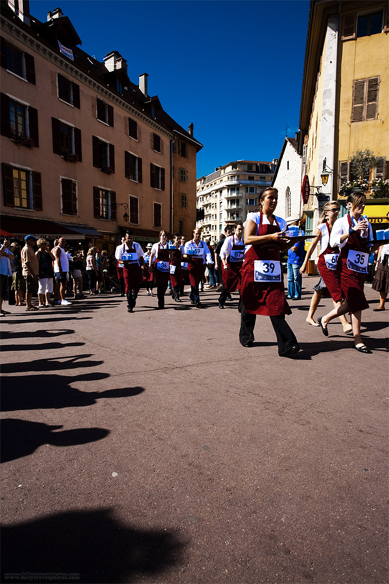 Wait staff participate in a monthly waiter's run - Annecy, Haute-Savoie, France - Daily Travel Photos