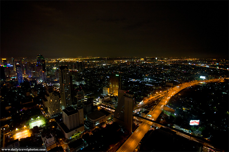Downtown Bangkok cityscape aerial view from the State Tower's Sicrocco sky bar - Bangkok, Thailand - Daily Travel Photos
