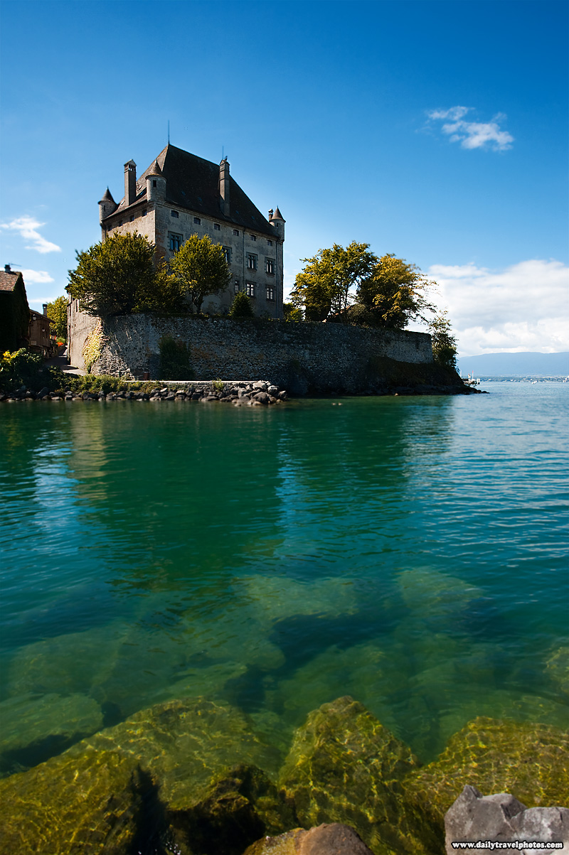 Lake Geneva and stone village castle - Yvoire, Haute-Savoie, France - Daily Travel Photos