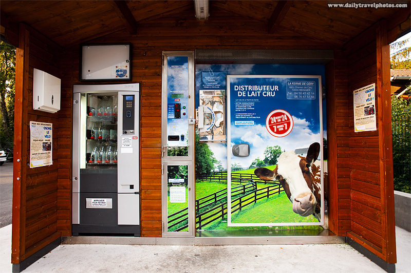 A shed housing an automated whole milk vending machine - Gaillard, Haute-Savoie, France - Daily Travel Photos