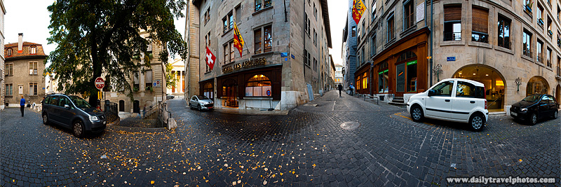 Geneva historic old town 360 degree user-controlled panorama near Hotel Les Armures cobblestone - Geneva, Switzerland - Daily Travel Photos