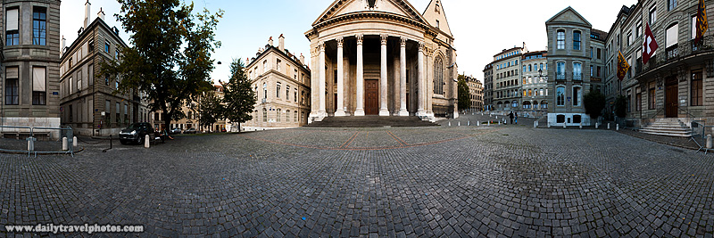 360 degree panorama of main square near St. Pierre's Cathedral in Geneva's old city - Geneva, Switzerland - Daily Travel Photos