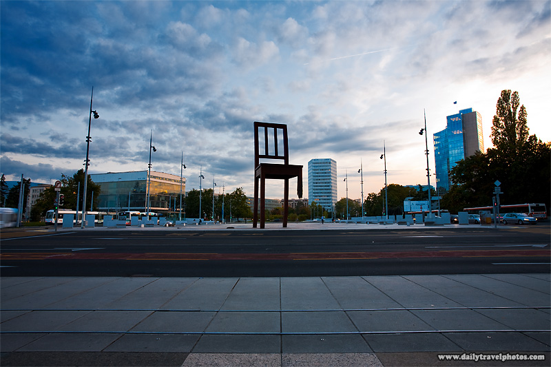 Broken chair at the Place des UN, the European headquarters of the United Nations - Geneva, Switzerland - Daily Travel Photos