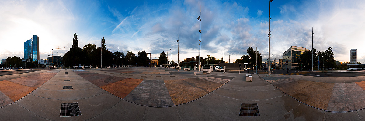 Panorama of UN Plaza in front of the European headquarters of the United Nations - Geneva, Switzerland - Daily Travel Photos