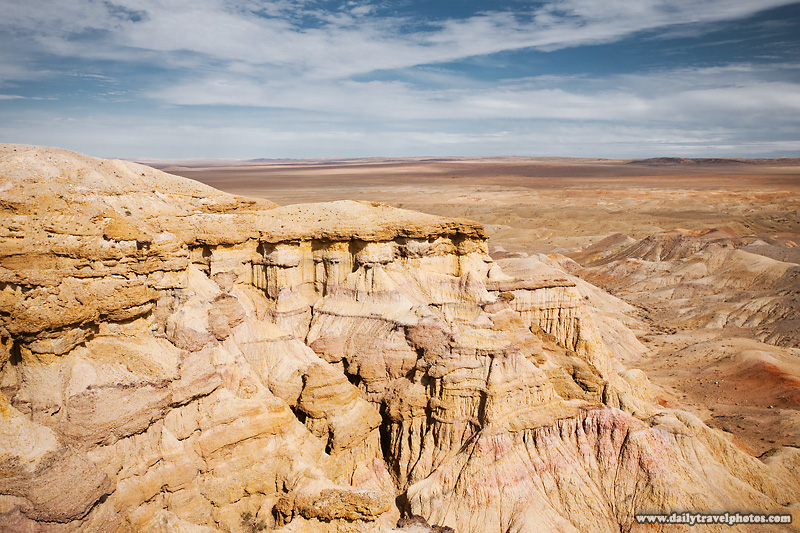 Flaming cliffs in a region famous for the discovery of the world's first fossilized dinosaur eggs. - Bayanzag, Gobi Desert, Mongolia - Daily Travel Photos