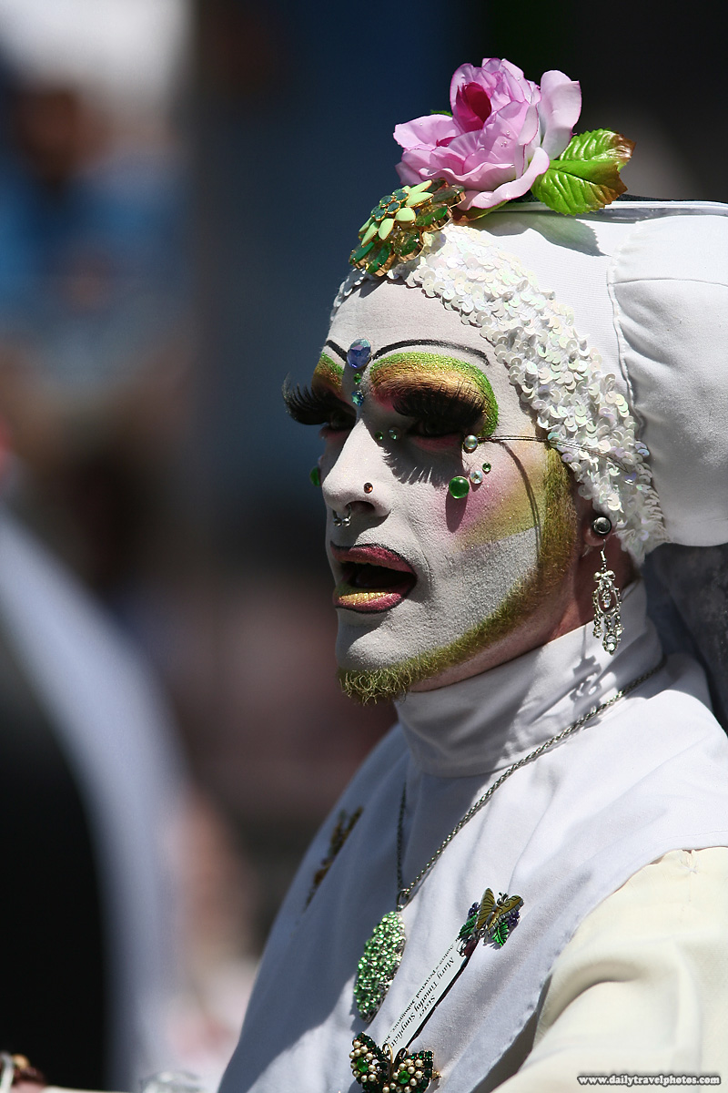 Drag queen in white nun habit for Gay Pride Parade - San Francisco, California, USA - Daily Travel Photos