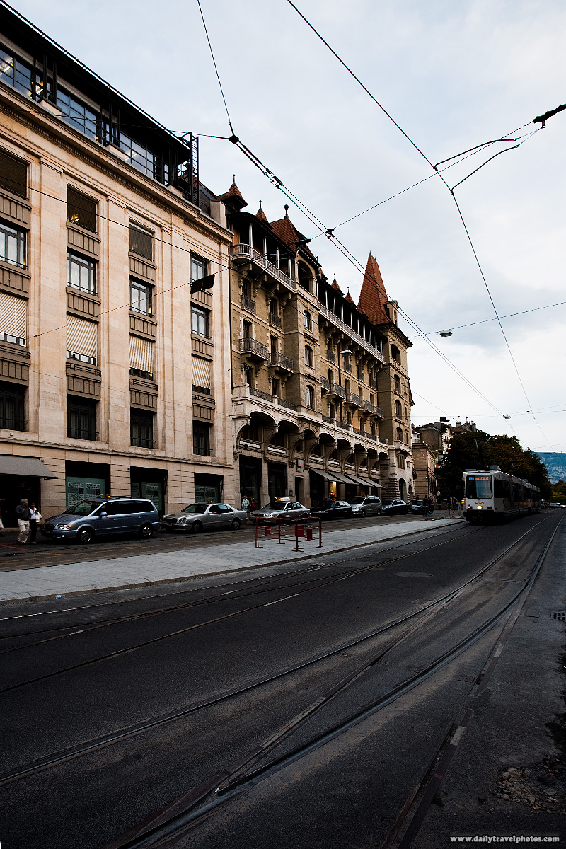 Tram on Rue de la Corraterie in downtown - Geneva, Switzerland - Daily Travel Photos