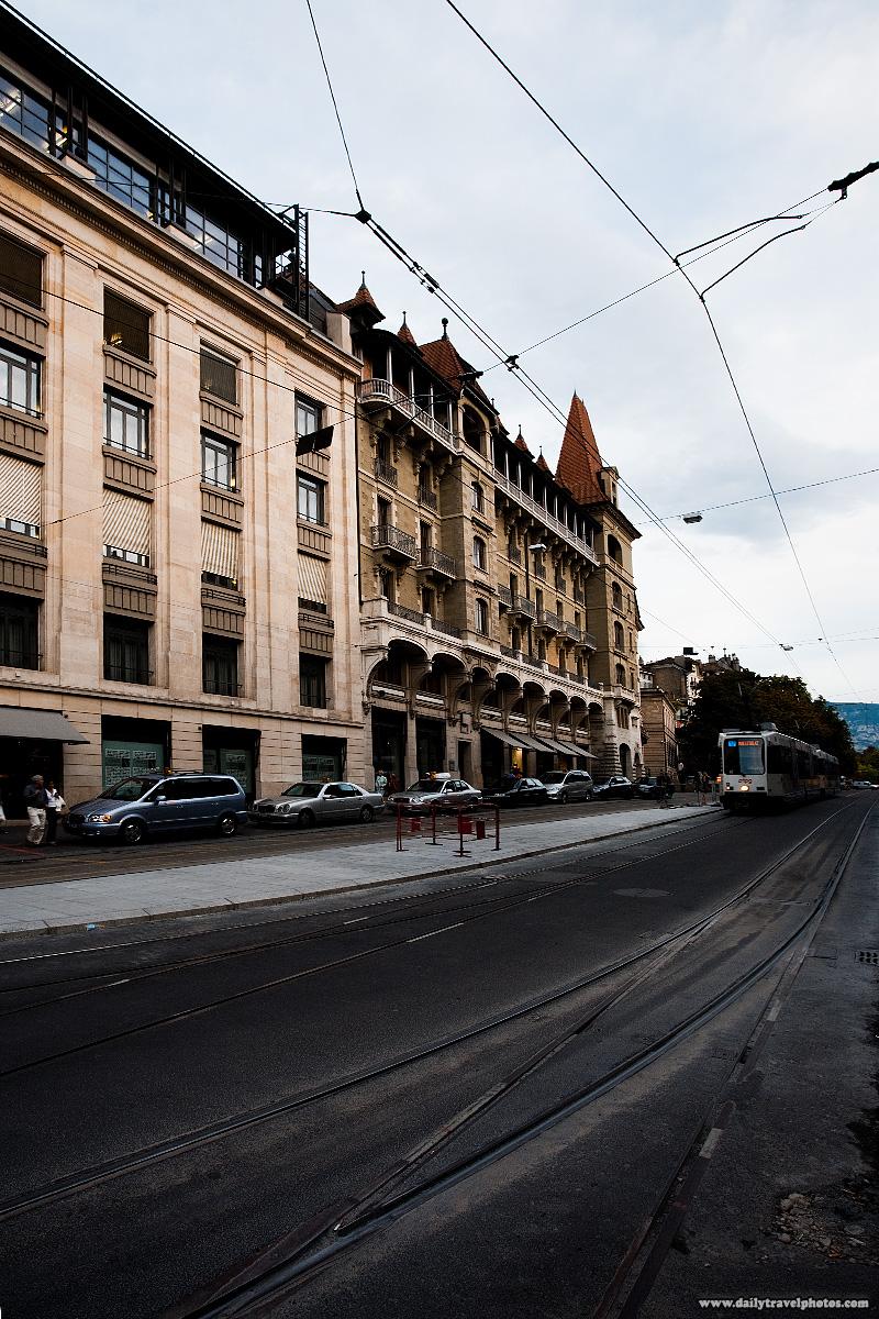 Tram on Rue de la Corraterie in downtown - Geneva, Switzerland - Daily Travel Photos