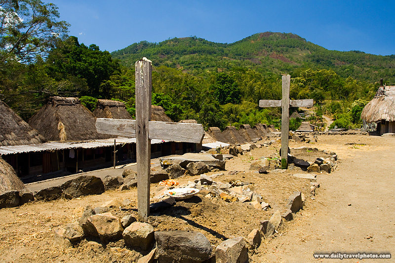 Crosses mark the grave in the traditional Ngada village of Bena - Bena, Flores, Indonesia - Daily Travel Photos
