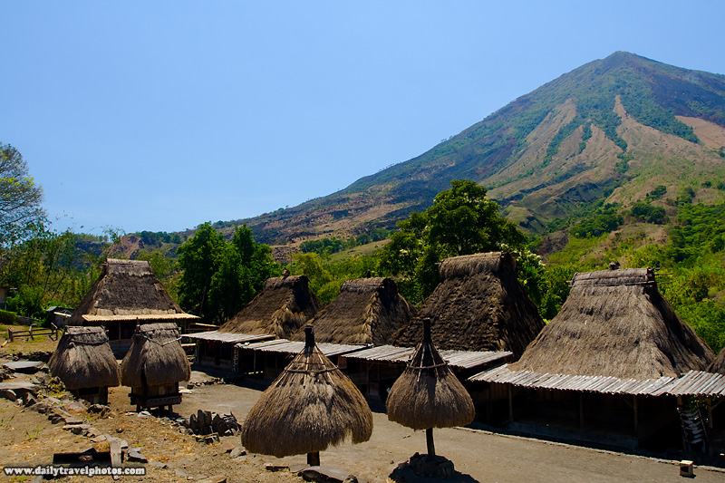 Gunung Inerie looms over the traditional Ngada village of Bena - Bena, Flores, Indonesia - Daily Travel Photos