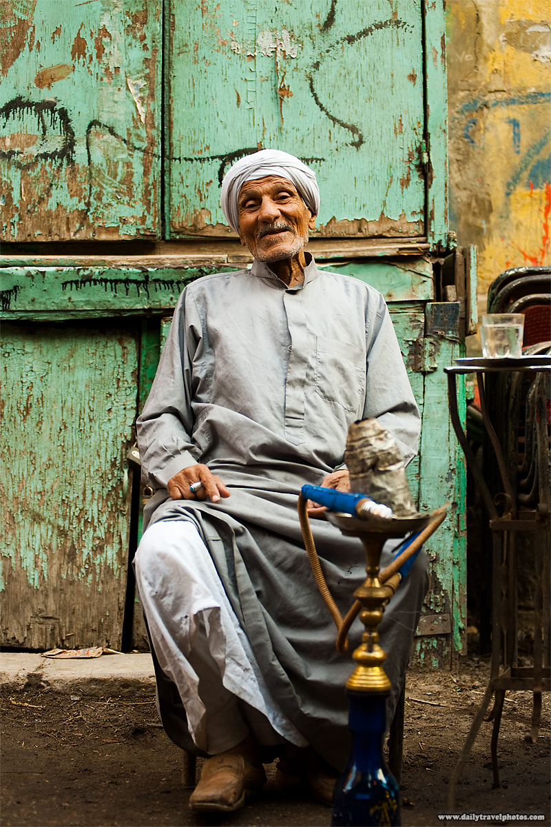 An kind elderly Egyptian at a street-side cafe (ahwa) - Cairo, Egypt - Daily Travel Photos